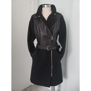 Mackage Dale Black Leather and Wool Blend  Coat